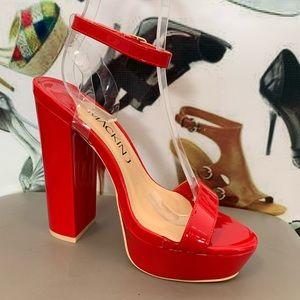Shoes - Red patent platform heel